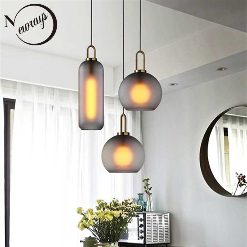 مصباح معلق LED على شكل كرة زجاجية ، تصميم شمالي حديث مفرد ، إضاءة داخلية مزخرفة ، مثالي لغرفة النوم أو المطعم أو السلالم ، E27