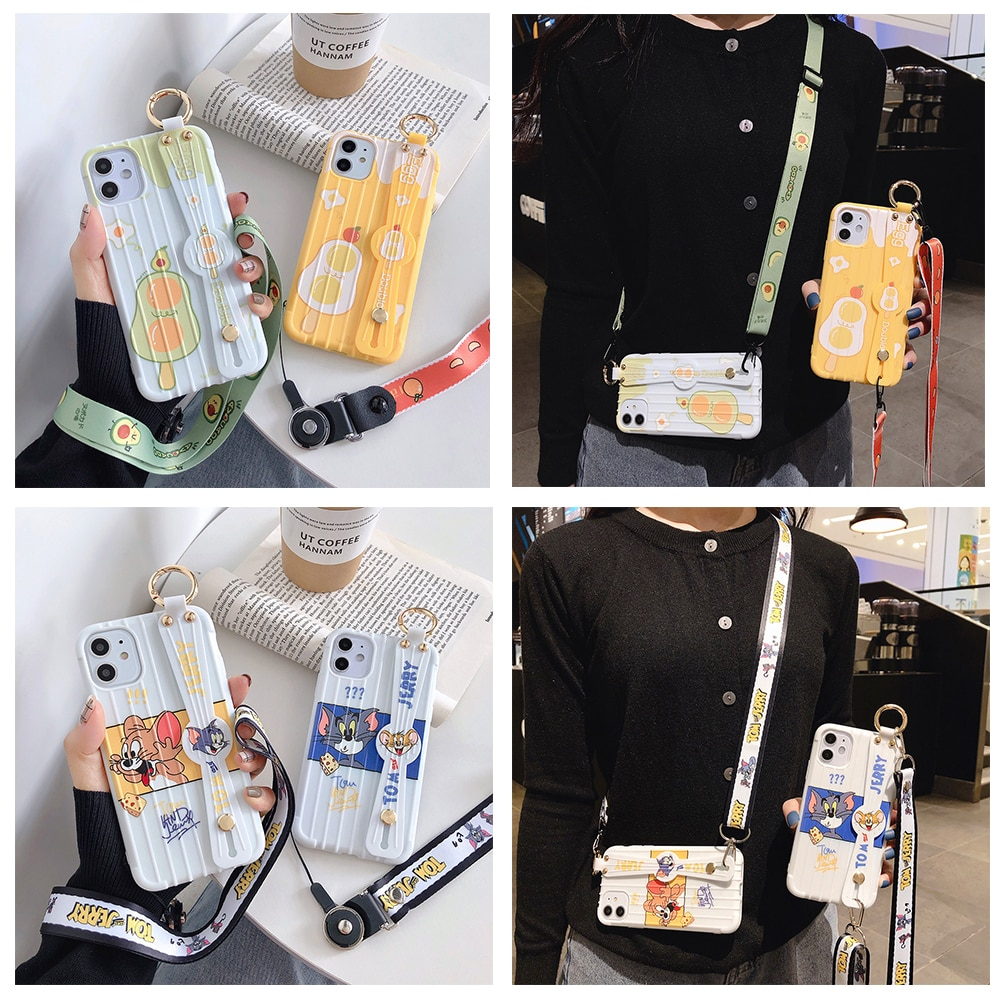 Telefon Halter Fall Für iPhone 11 Pro Max 7 8 6 6s Plus X XR XS Max Abdeckung Maus katze Weiche TPU Neck Wrist Strap Lanyard Fall