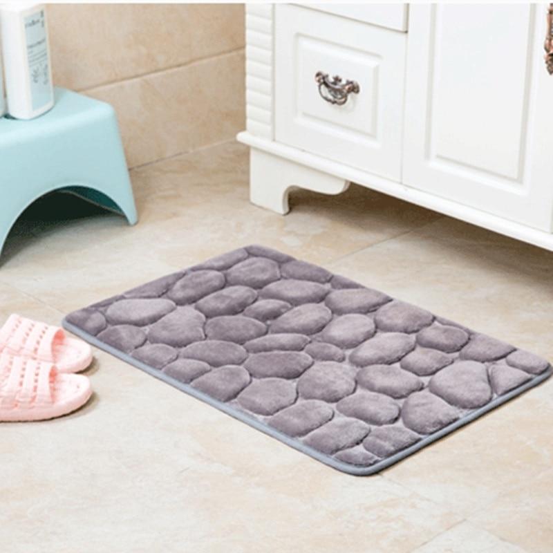 1pcs 40*60cm cobblestone pattern Bath Mat Coral Fleece Microfiber Soft Non-slip Carpet Mat Absorbent Rug car Floor Mats
