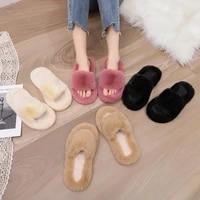 mini mlsa women indoor house slippers faux fur warm flat winter shoes female slip home furry ladies shoe