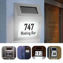 DIY بها بنفسك رقم المنزل شخصية مقاوم للماء الطاقة الشمسية 2 مصباح ليد رقم البيت شارع تسجيل اللوحة