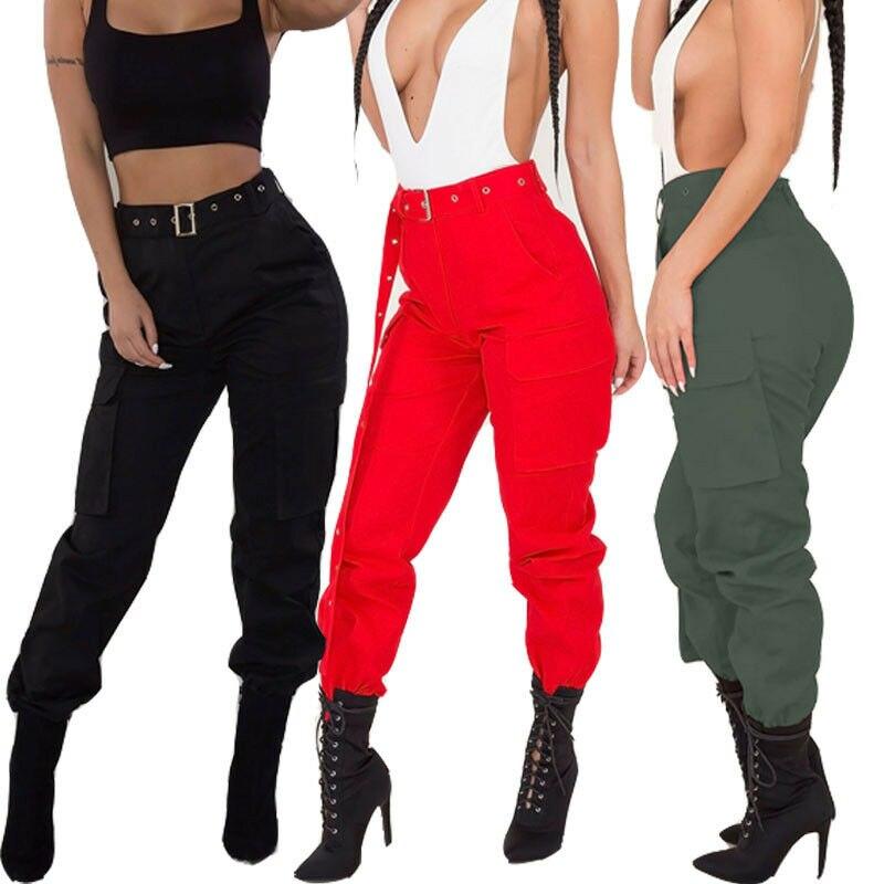 Pantalones cargo de moda para mujer bolsillos militares Casual de alta cintura sólido deportes flojos Cool Girl otoño Jogging pantalón largo Streetwear