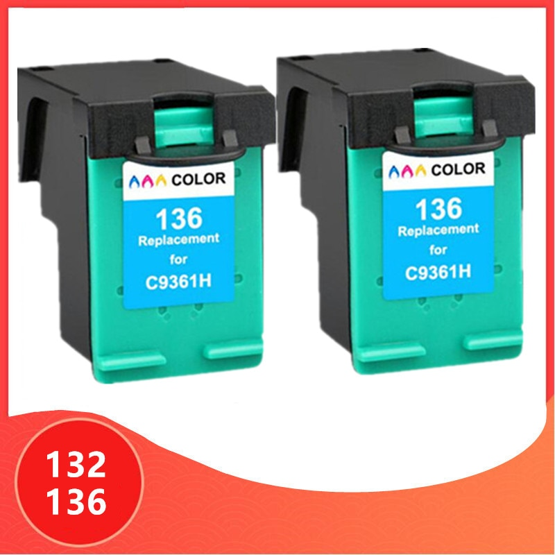 2 uds Color para hp 132 136 cartucho de tinta para hp 132 para hp 136 Photosmart 2573 C3183 1513 Officejet 6213 5443 D4163 Uds impresora 1513
