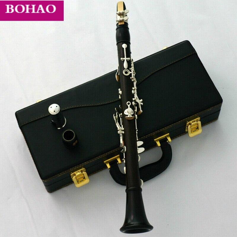 Profesional Grenadilla ébano madera Eb Soprano clarinete italiano almohadillas con funda
