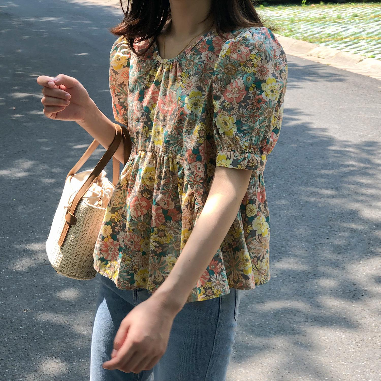 summer retro floral  round collar shirt female hubble-bubble sleeve loose Women blouses 0858#