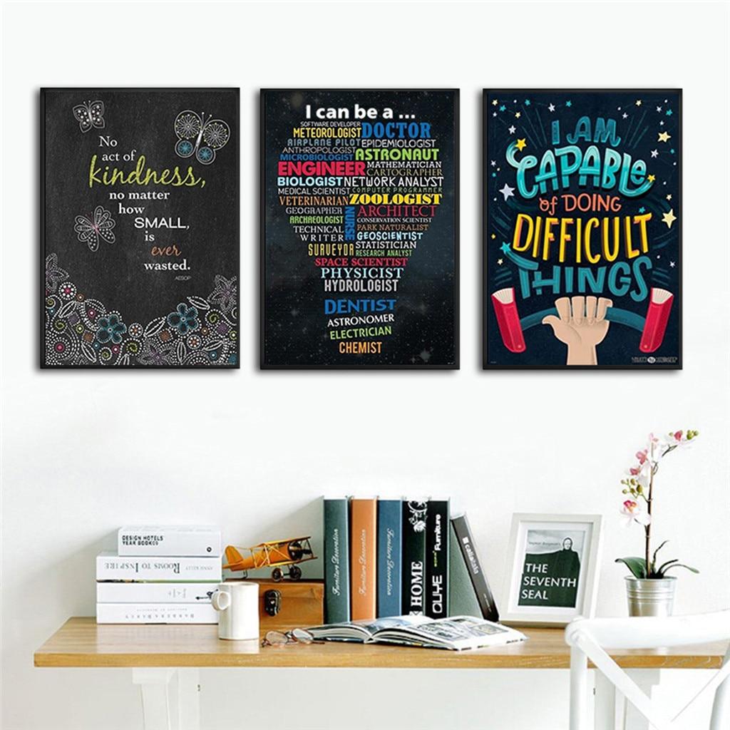 Carteles de citas inspiradoras motivacionales para maestros, aulas, oficinas, 8x12 pulgadas, decoración moderna para el hogar, dormitorio y sala de estar