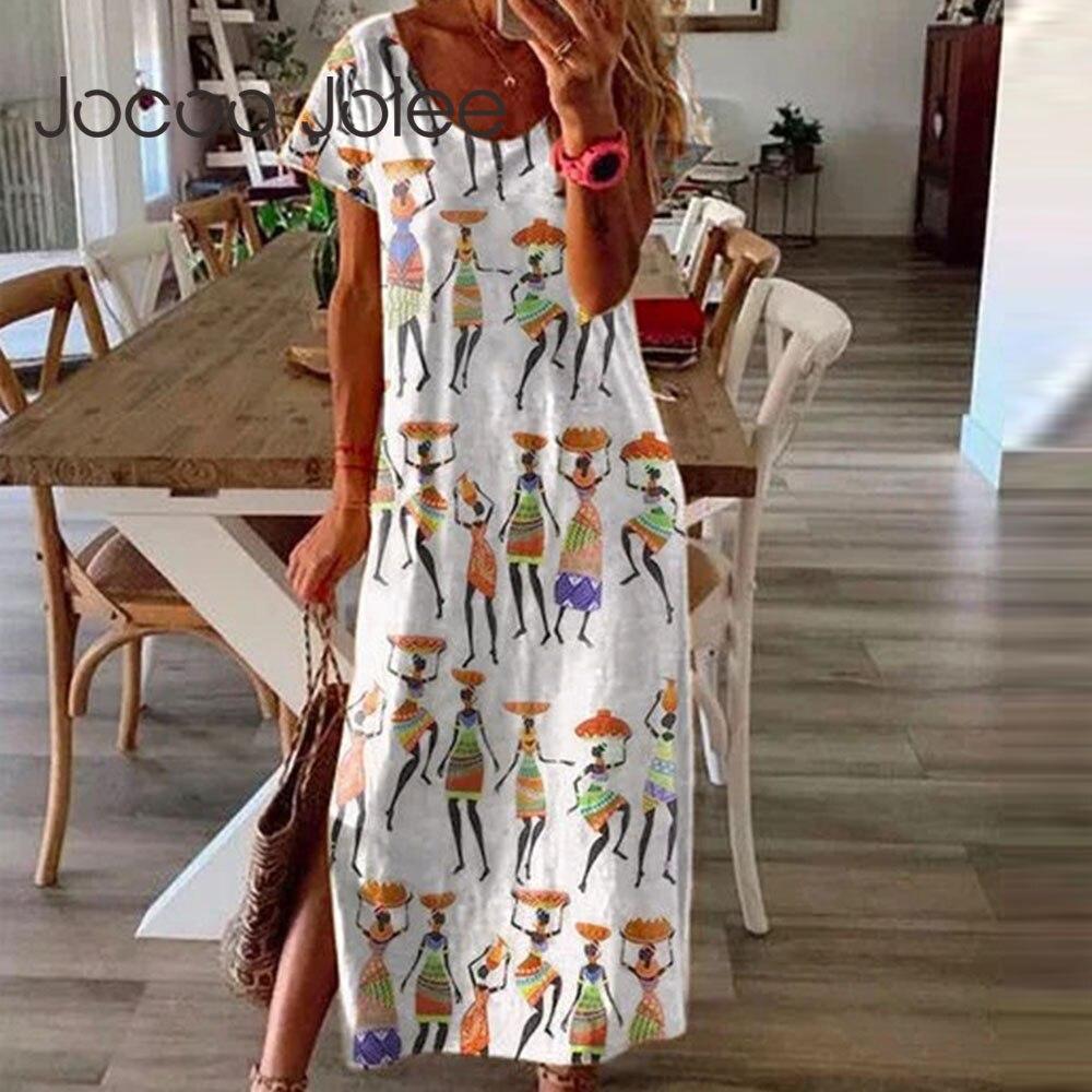 Jocoo Jolee largo bohemio holgado de manga corta, vestido informal de diseño Vintage para mujer, Vestido largo de estilo Indie 2020 nuevo