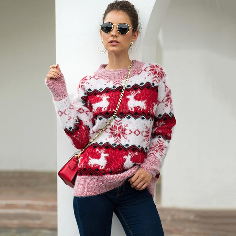 2019 теплый свитер Женский пуловер с оленем и женский зимний вязаный плотный