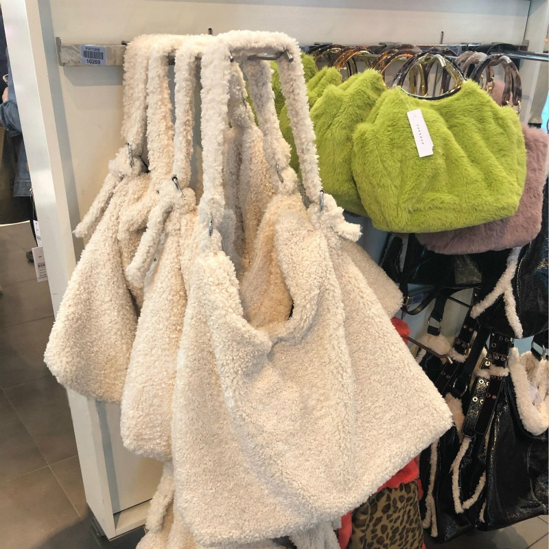 Bolso de mano Lambswool para mujer, bolso de hombro multifunción blanco de lujo, bolso grande de piel sintética de marca, bolso bandolera para mujer