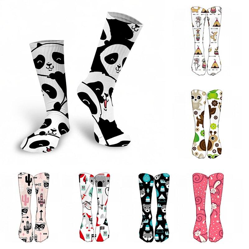 New Fashion 3D Printed Women Cotton Long Socks Cute Animal Girl Calf Socks Sports Cycling Hip Hop Unisex Funny Happy Knee Socks