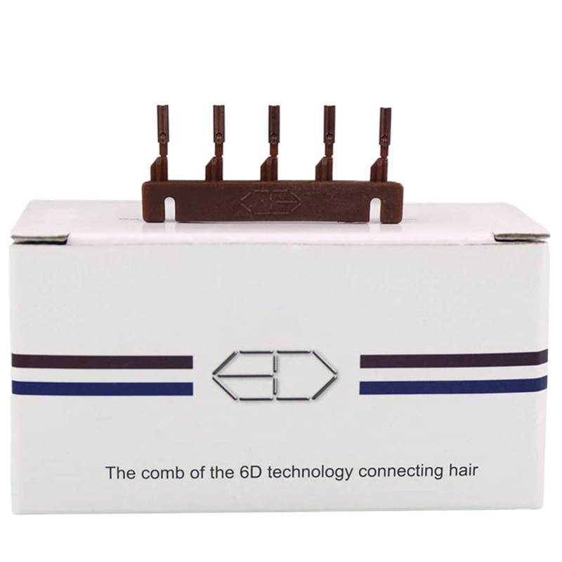 40pcs Brown Color 6D hair extension machine 6D-2 hair comb hair re-apply 6D hair buckle tools