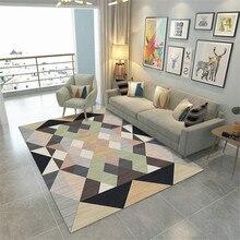 Tapis nordiques modernes, grands tapis, avec motif géométrique, couleur, en polyester, en tissu velours doux, entrée