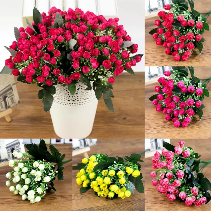 Bouquet de Roses en soie 36 têtes   Vases de guirlandes de noël bricolage pour la maison, accessoires de décoration de mariage, fleurs artificielles en plastique bon marché