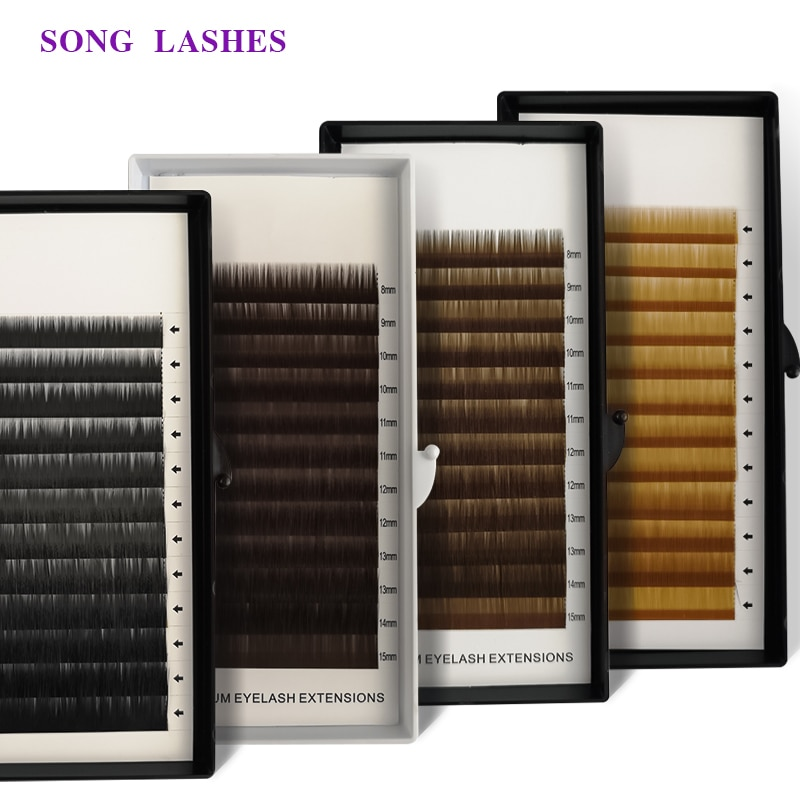 AliExpress - SONG LASHES  High Quality Eyebrown Extensions False Eyebrow 12 lines per tray . No curl eyelash . 4 color dard bron light brown