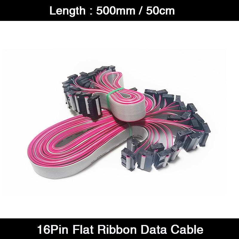 10Pcs/Lot 500mm/50cm 16Pin Pure Copper LED Display Flat Ribbon Data LED Panel Module Receiver Cable Signal Cable