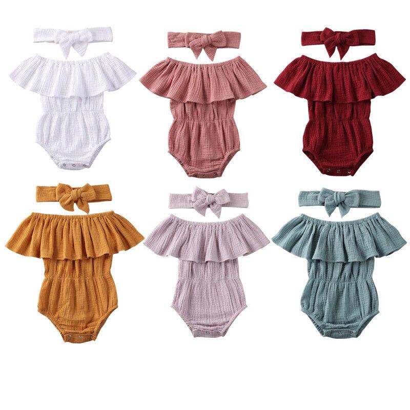 Newborn Baby Girls Short Sleeve Solid Romper Jumpsuit Clothing with Headband