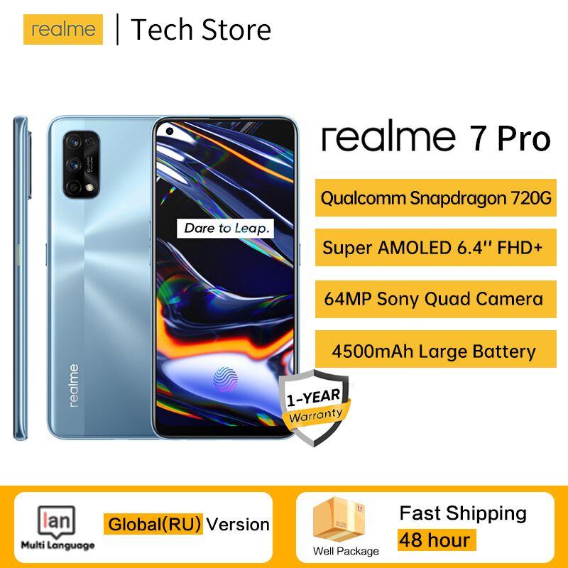 Realme 7 pro Snapdragon 720G 64MP Quad сзади Камера 8G 128G мобильный телефон 4500 мА/ч, 65 Вт FlashCharger Super AMOLED Экран NFC мобильный телефон