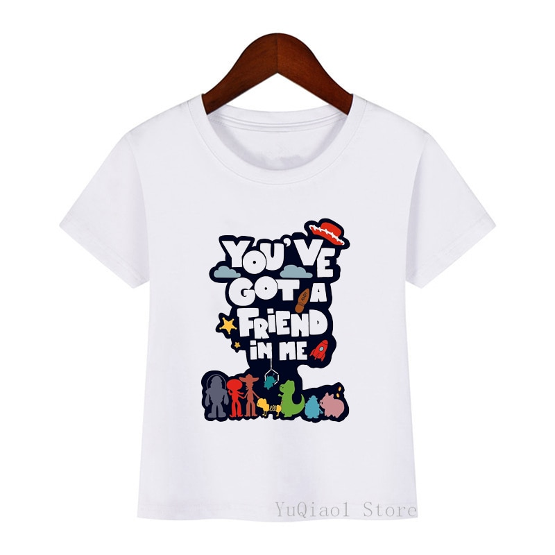 Boys and Girls Letter Print T shirt Kids Funny  girls Clothes Baby you've got a friends in me T-shirt tee shirt kid clothes