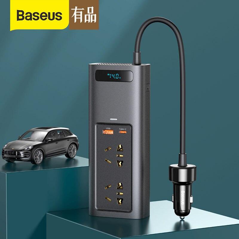 شاومي Baseus سيارة العاكس تيار مستمر 12 فولت إلى التيار المتناوب 220 فولت السيارات محول Inversor USB نوع C شحن سريع شاحن سيارة محول الطاقة العاكس