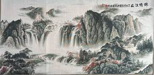 """48"""" China Embroidered Cloth Silk hill water scenery Mural Home Decor Vertical Edition of  Porch Drawing 96"""