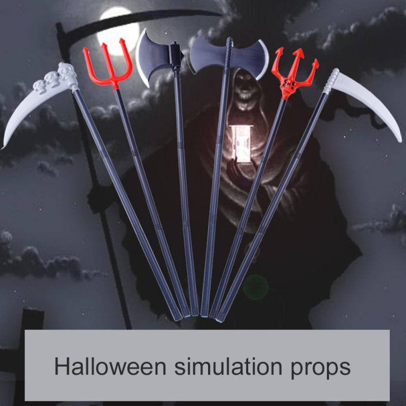 Complementos de decoración para Halloween, armas de utilería para actuación de fiesta, hacha de doble cara, hoz Trigeminal, juguetes para niños 86