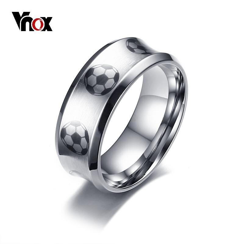 Anillo con diseño de fútbol Vnox para hombre, anillo de futbol masculino de acero inoxidable de alta calidad, joyas deportivas de Alianza