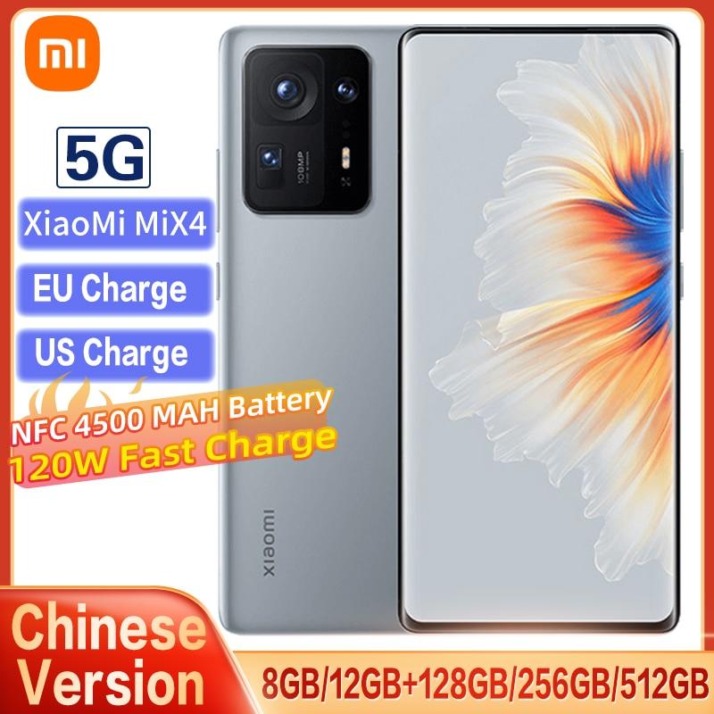 Original Xiaomi Mix 4 5G Smartphone NFC Snapdragon 888+ 4600mAh 120W Fast Charge 108MP Camera 120Hz Full Screen Display