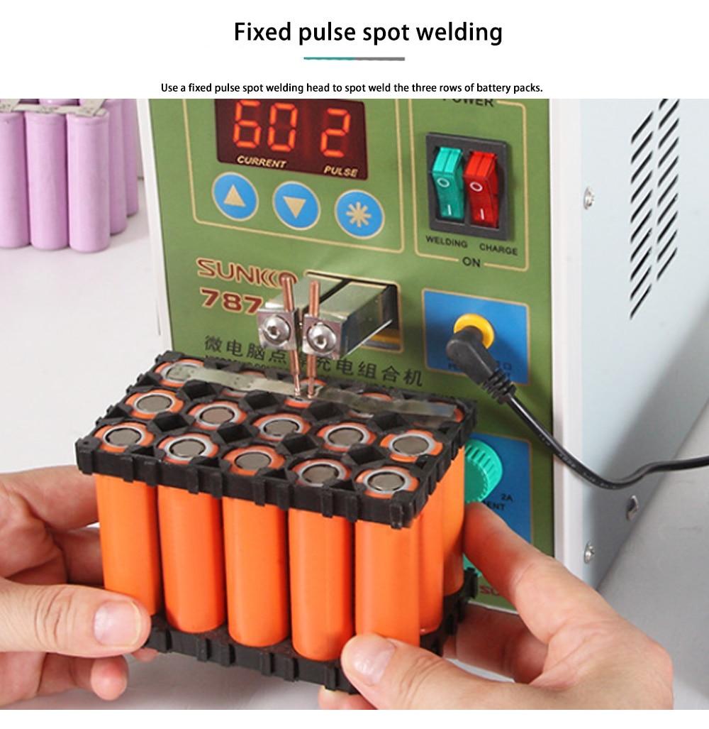 SUNKKO787A + Double Pulse Spot Welder 18650 Lithium Battery Welding Machine with Load Test Function EU Plug 220V
