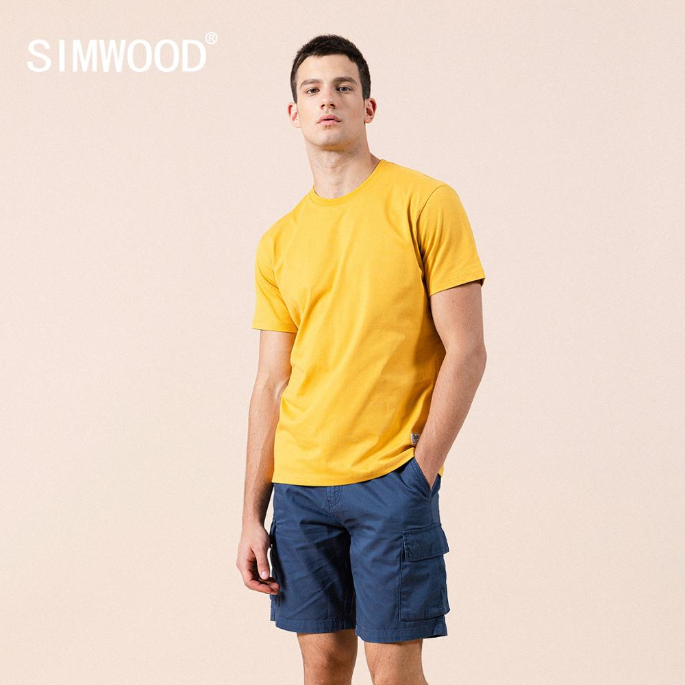 aliexpress - SIMWOOD 2021 summer new solid t-shirt 100% cotton  Compact-Siro Spinning O-neck Tops High Quality plus size clothes SI980698