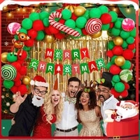 1set large happy christmas day foil balloons snowman santa claus christmas tree decoration xmas party supplies
