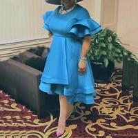 retro dress vintage blue for women ruffles flare sleeve high waist a line mid calf elegant evening night party vestidos mujer