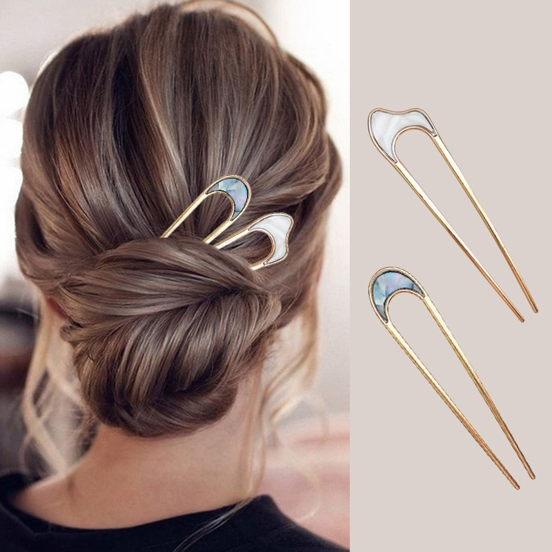 Batang rambut Jepun untuk wanita, klip rambut, bentuk U berwarna-warni untuk kanak-kanak perempuan, pin rambut, batang rambut, aksesori rambut