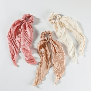 LUNA CHIAO New Style Shimmering Wrinkle Satin Fabric Hair Scarf Bandanas Ponytail Holder Pack for Women