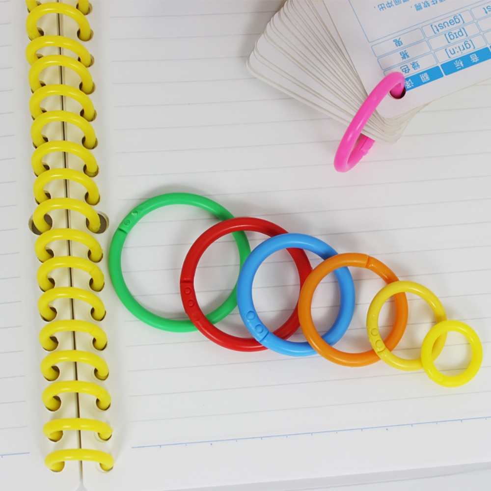 1000PCS 40mm Creative Color Plastic Multifunctional Binding Ring Book Loose-Leaf Ring Card Notebook Vocabulary DIY Card Buckle