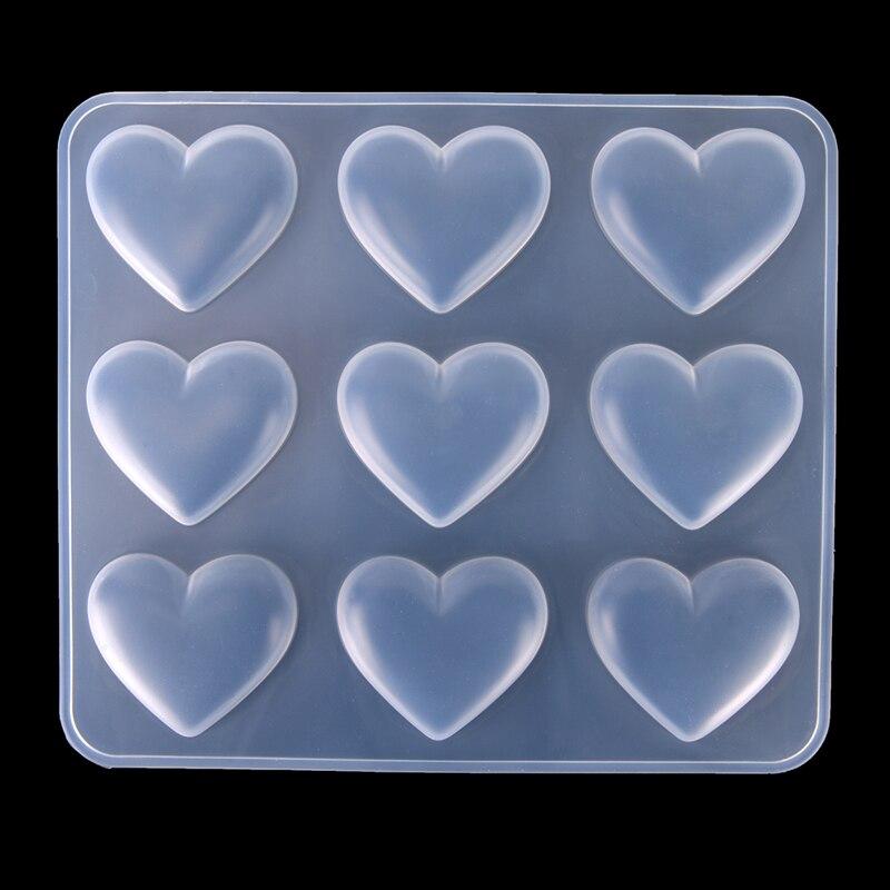 1 pc 9-mesmo diy forma de coração resina uv jóias molde de bolo de silicone molde para decorar fazer pingente