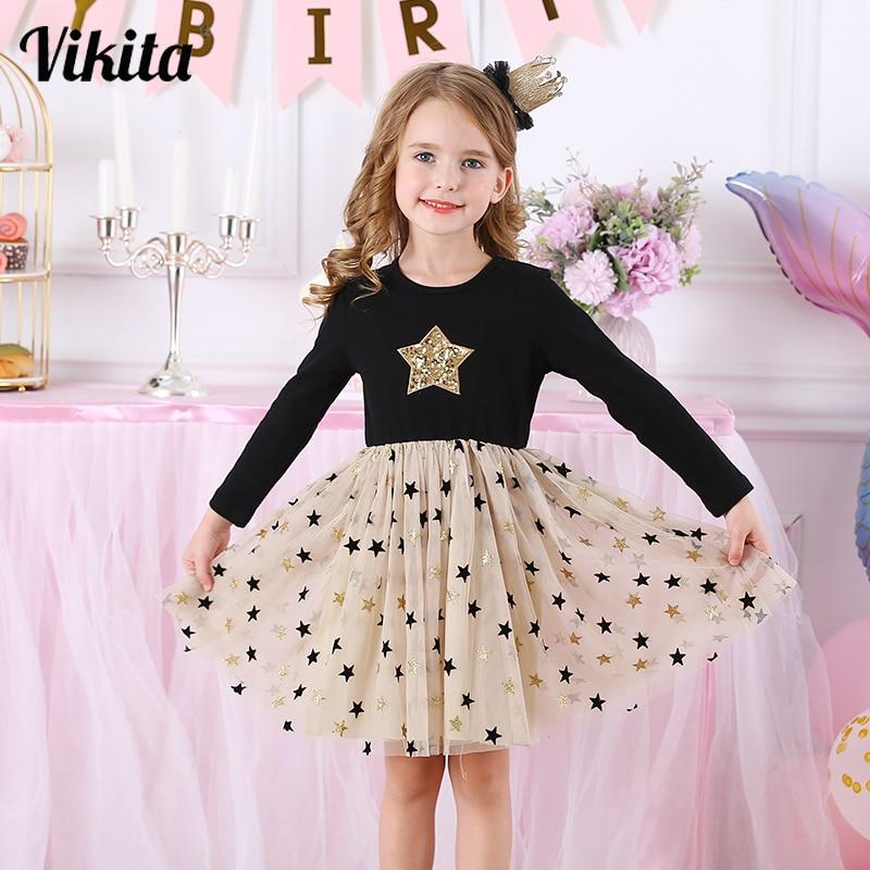 Kids Autumn Winter Dresses for Girls Star Sequins Princess Dress Girls Long Sleeve Party Vestidos Baby Girl Children Clothing