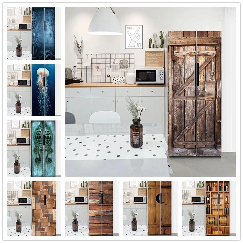 Papel tapiz para la nevera con diseño de casa, calcomanía para refrigerador...