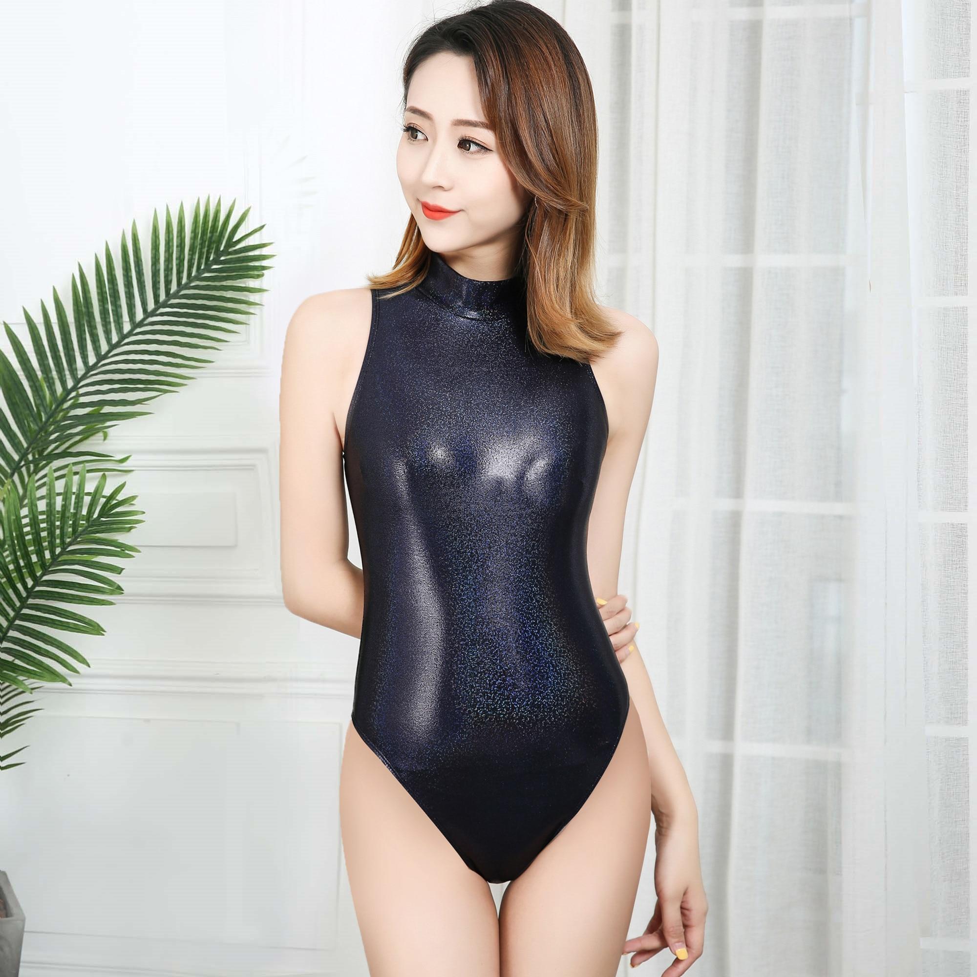 Drozeno sexy collants trajes de banho 2020 womens dead wate japonês maiô preto brilhante maiô uma peça swimsuitwomen