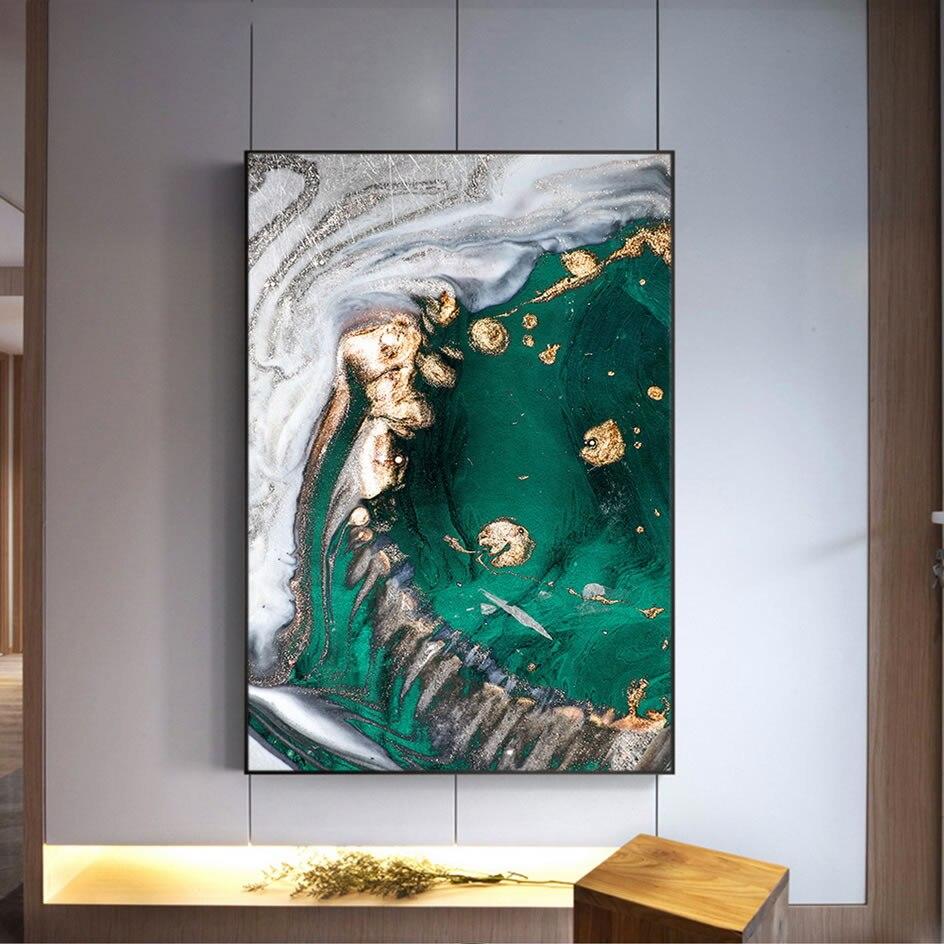 Moderno y nórdico, póster creativo de lienzo con lámina de oro de Verde Abstracto, pintura abstracta, Impresión de cuadro de pared para decoración para sala de estar