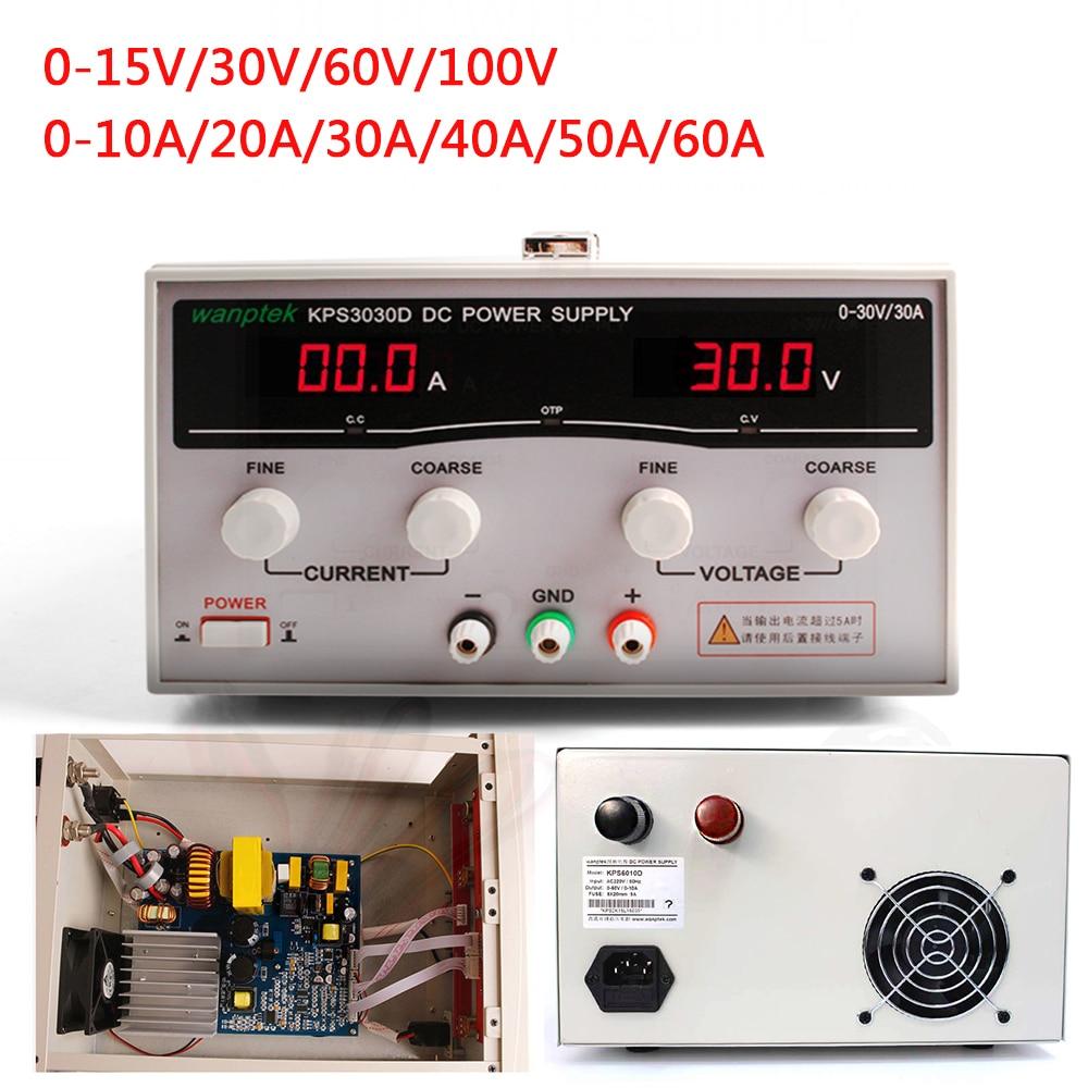 Nueva fuente de alimentación conmutada DC, pantalla LED de alta potencia, banco de laboratorio Wanptek ajustable de 15V, 30V, 60V, 100V, 10A, 20a, 30A, 40a, 50A y 60a