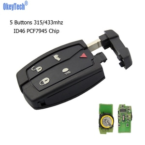 OkeyTech Remote Car Key For Range Rover Sport Freelander LR2 Landrover 5 Buttons 315/433mhz ID46 PCF7945 Chip Fob Uncut Blade