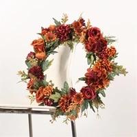 door wreath 40cm artificial wreath durable beautiful rose fall wreath decoration garland for home window wedding qualified