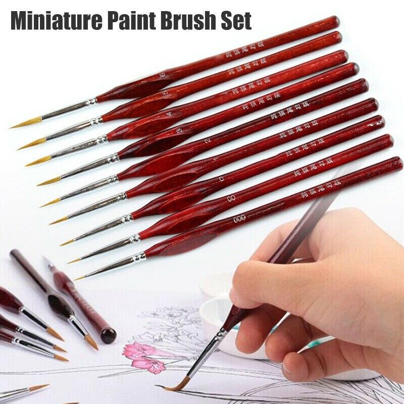 9Pcs/Set Miniature Paint Brush Kit Professional Sable Hair Fine Detail Art Model Tools THIN889