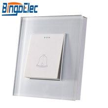 Bingoelec interrupteur de sonnette   standard EU/UK CE, certification du verre en cristal blanc, interrupteur de sonnette à bouton poussoir, interrupteur mural, cadre en verre