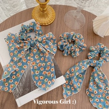 Frauen Kleine Blaue Blume Haar Seil Super Fee Bowsknot Haarband Mädchen Haar Krawatten Floral Kopf Seil Elastische Haar Zubehör