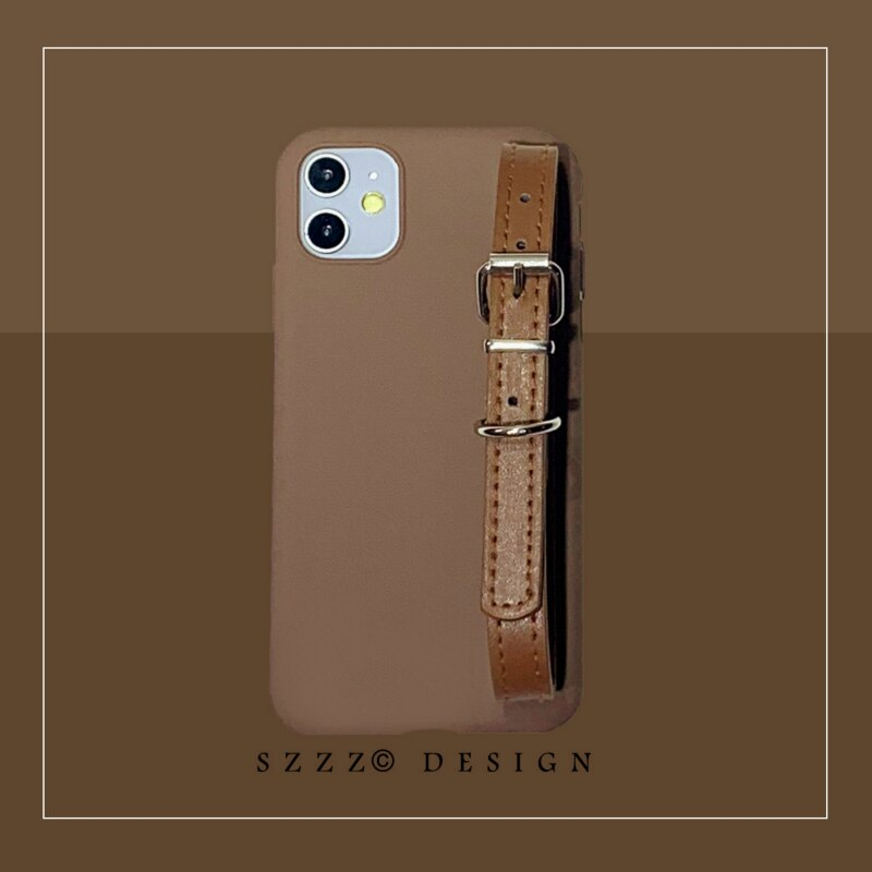 Caja de cuero de la correa de la muñeca de moda para el iphone 11 11Pro Max X Xs max XR para el iphone 7 8 Plus 6s caja de cuero de lujo del teléfono