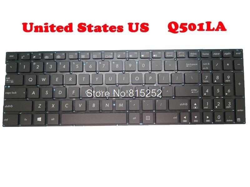لوحة مفاتيح الكمبيوتر المحمول ASUS Q501 ، Q501LA ، N541 ، N541LA ، Q553 ، Q553UB ، الولايات المتحدة الأمريكية ، أسود ، بدون إطار مع إضاءة خلفية
