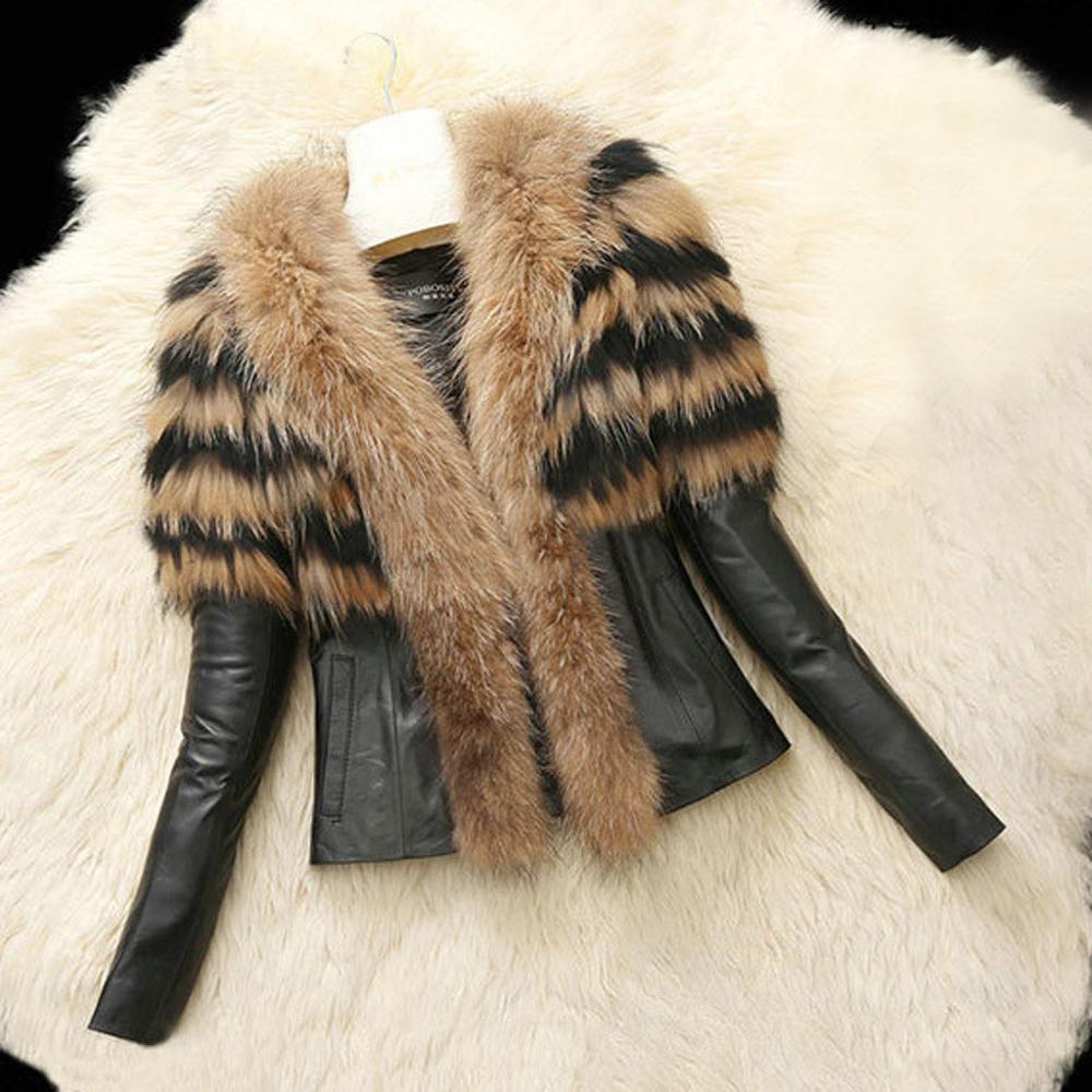 Jaqueta de couro de pelúcia do falso das mulheres padrão de tigre preto jaqueta do punk motocicleta casaco de lã en cuir femme