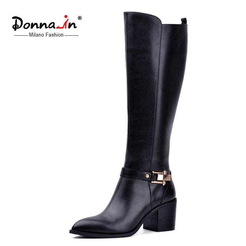 Donna-no joelho-botas altas mulheres inverno couro genuíno apontou toe grosso salto alto botas de metal zíper forro de pelúcia sapato das senhoras