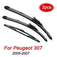 Набор стеклоочистителей MIDOON для Peugeot, передние и задние щетки стеклоочистителя для Peugeot 307, 2005, 2006, 2007, 28, + 26, + 14 дюймов, лобовое стекло